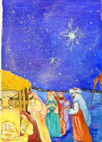 Тема Рождества вдохновила юных художниц