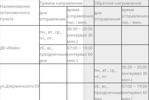 Информация о возобновлении маршрута № 6